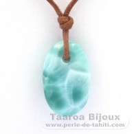 Waxed cotton Necklace and 1 Larimar - 21.5 x 13.2 x 6.4 mm - 2.85 gr