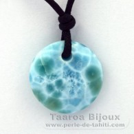 Waxed cotton Necklace and 1 Larimar - 21 x 6.4 mm - 4.4 gr