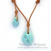 Leather Necklace and 2 Larimar - 6.7 and 2.2 gr