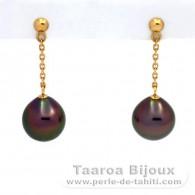 18K solid Gold Earrings and 2 Tahitian Pearls Semi-Baroque A 9.1 mm