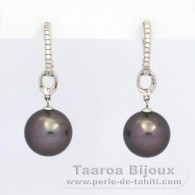 .925 Solid Silver Earrings and 2 Tahitian Pearls Round C 11.2 mm