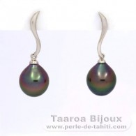 .925 Solid Silver Earrings and 2 Tahitian Pearls Semi-Baroque B 9.3 mm