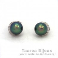 .925 Solid Silver Earrings and 2 Tahitian Pearls Semi-Baroque B+ 9.3 mm