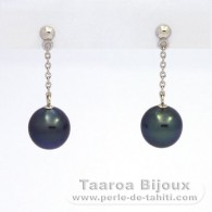 14K Solid White Gold Earrings and 2 Tahitian Pearls Semi-Baroque B 8.7 mm
