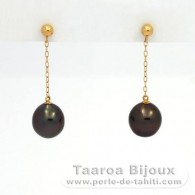 18K solid Gold Earrings and 2 Tahitian Pearls Semi-Baroque A 8 mm