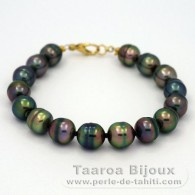 18K solid Gold Bracelet and 16 Tahitian Pearls Ringed B from 9 to 9.5 mm