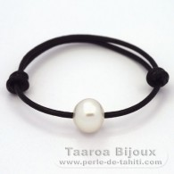 Leather Bracelet and 1 Australian Pearl Semi-Baroque C 12.3 mm