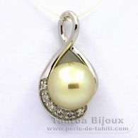 Rhodiated Sterling Silver Pendant and 1 Tahitian Australian Pearl Semi-Baroque C 10.9 mm