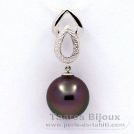.925 Solid Silver Pendant and 1 Tahitian Pearl Near-Round C 12.3 mm