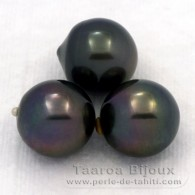 Lot of 3 Tahitian Pearls Semi-Baroque C from 11.5 to 11.9 mm
