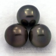 Lot of 3 Tahitian Pearls Semi-Baroque C from 13 to 13.2 mm