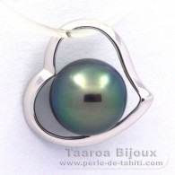 18K Solid White Gold Pendant and 1 Tahitian Pearl Round B 8.3 mm