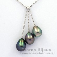 .925 Solid Silver Necklace and 3 Tahitian Pearls Ringed B from 8.5 to 8.7 mm