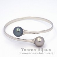 .925 Solid Silver Bracelet and 2 Tahitian Pearls Round C 11.6 mm