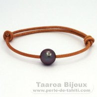 Leather Bracelet and 1 Tahitian Pearl Round C 11.3 mm