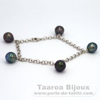 Rhodiated Sterling Silver Bracelet and 5 Tahitian Pearls Ringed B from 9 to 9.2 mm