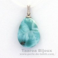 .925 Solid Silver Pendant and 1 Larimar - 18 x 14 x 6.5 mm - 2.7 gr