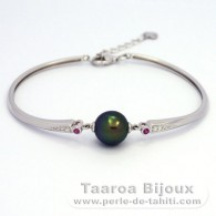 .925 Solid Silver Bracelet and 1 Tahitian Pearl Near-Round C+ 10 mm