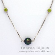 Rhodiated Sterling Silver Necklace and 5 Tahitian Pearls Near-Round C from 8.5 to 8.9 mm