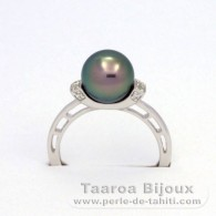 .925 Solid Silver + Rhodium Ring and 1 Tahitian Pearl Round B 8.8 mm