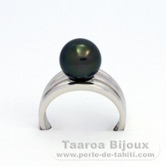 Rhodiated Sterling Silver + Rhodium Ring and 1 Tahitian Pearl Round C 9.8 mm