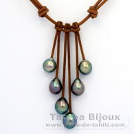 Leather Necklace and 6 Tahitian Pearls Semi-Baroque C from 9.6 to 9.9 mm
