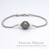 Rhodiated Sterling Silver Bracelet and 1 Tahitian Pearl Round C 11 mm
