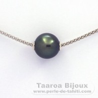 Rhodiated Sterling Silver Necklace and 1 Tahitian Pearl Near-Round C 12.1 mm