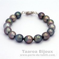 .925 Solid Silver Bracelet and 15 Tahitian Pearls Semi-Baroque B from 9 to 9.4 mm