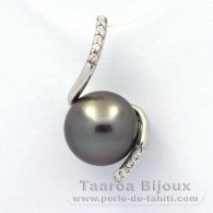 .925 Solid Silver Pendant and 1 Tahitian Pearl Round C 9.7 mm