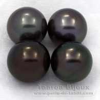 Lot of 4 Tahitian Pearls Round C from 9 to 9.4 mm