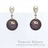 .925 Solid Silver Earrings and 2 Tahitian Pearls Round C 11.1 mm