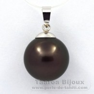 18K Solid White Gold Pendant and 1 Tahitian Pearl Round B 13.1 mm