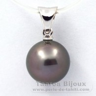18K Solid White Gold Pendant and 1 Tahitian Pearl Round B 9.2 mm