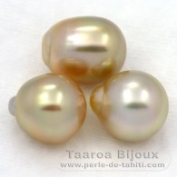 Lot of 3 Australian Pearls Semi-Baroque C from 10.5 to 10.8 mm