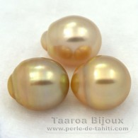Lot of 3 Australian Pearls Semi-Baroque C from 11.7 to 12.2 mm
