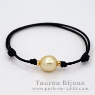 Waxed Cotton Bracelet and 1 Australian Pearl Semi-Baroque C 11.3 mm