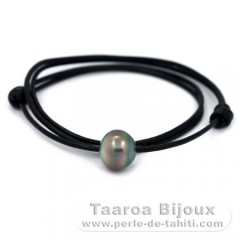 Leather Necklace and 1 Tahitian Pearl Semi-Baroque C 14.5 mm