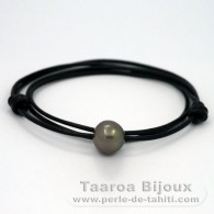 Leather Necklace and 1 Tahitian Pearl Semi-Baroque C 14 mm
