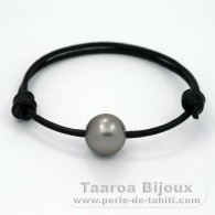 Leather Bracelet and 1 Tahitian Pearl Round C 13.1 mm