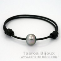 Leather Bracelet and 1 Tahitian Pearl Semi-Baroque C 12.1 mm