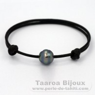 Leather Bracelet and 1 Tahitian Pearl Ringed C 10.8 mm