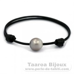 Leather Bracelet and 1 Tahitian Pearl Semi-Baroque C 12 mm