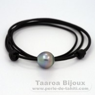 Leather Necklace and 1 Tahitian Pearl Semi-Baroque C 13.6 mm