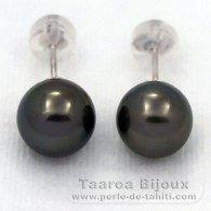 18K Solid White Gold Earrings and 2 Tahitian Pearls Round B 8.5 mm