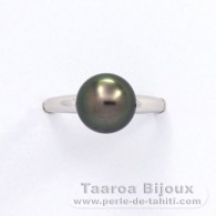 Rhodiated Sterling Silver + Rhodium Ring and 1 Tahitian Pearl Round B 8.9 mm