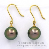 18K solid Gold Earrings and 2 Tahitian Pearls Round B 9.7 mm