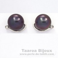 .925 Solid Silver Earrings and 2 Tahitian Pearls Round C 10.2 mm