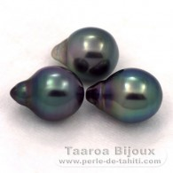 Lot of 3 Tahitian Pearls Semi-Baroque B from 9.9 to 10 mm