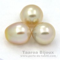 Lot of 3 Australian Pearls Semi-Baroque C from 11.1 to 11.4 mm